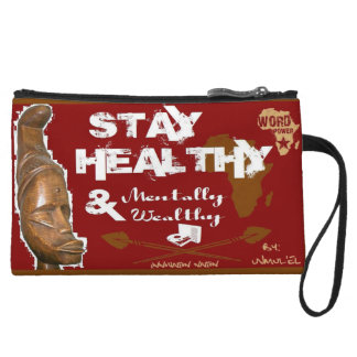 Stay Healthy cell phone pouch Wristlet Wallet