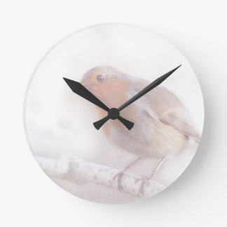 Stay, little cheerful Robin! Round Wall Clock