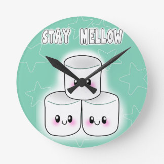 Stay Mellow Marshmallow Round Clock