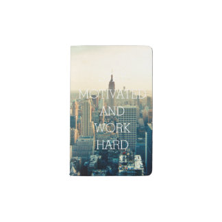 Stay motivated work hard inspirational quote NYC Pocket Moleskine Notebook Cover With Notebook