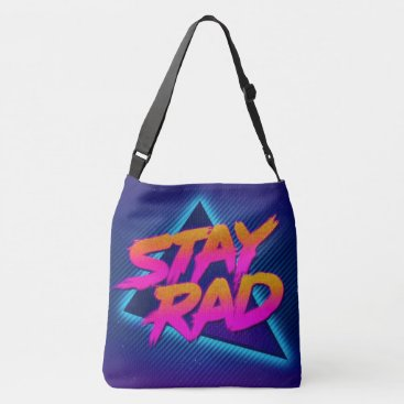 Beach Themed stay rad neon blue all over shoulder tote