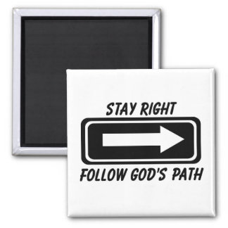 Stay right follow Gods path Christian street sign 2 Inch Square Magnet