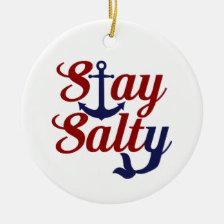 Stay Salty Nautical Art Ceramic Ornament