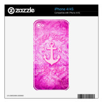 Stay Strong Breast Cancer awareness art. iPhone 4S Skin
