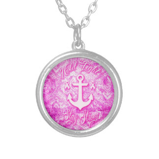 Stay Strong Breast Cancer awareness art. Silver Plated Necklace