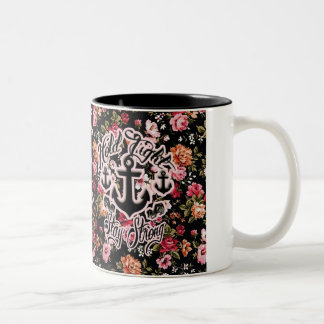 Stay Strong Hold Tight Retro Nautical art. Two-Tone Coffee Mug