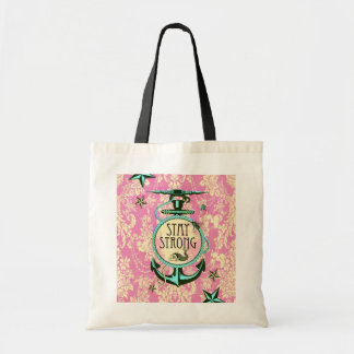 Stay strong nautical anchor art in pink. budget tote bag