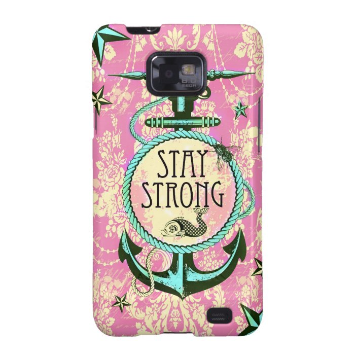 Stay Strong nautical art in retro color palette. Galaxy SII Cover
