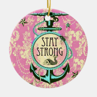 Stay Strong Nautical Art in retro color palette. Double-Sided Ceramic Round Christmas Ornament