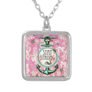 Stay Strong Nautical Art in retro color palette. Square Pendant Necklace