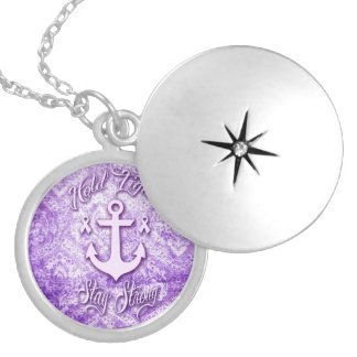 Stay strong nautical pancreatic cancer products. silver plated necklace