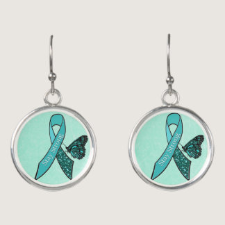 Stay Strong Ovarian Cancer Awareness Ribbon Teal Earrings
