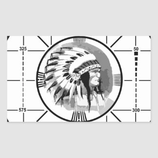 Stay Tuned with Indain Head Test Pattern Rectangular Sticker