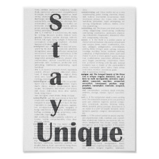 Stay Unique Thesaurus Dictionary Page Poster