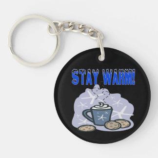Stay Warm 4 Double-Sided Round Acrylic Keychain