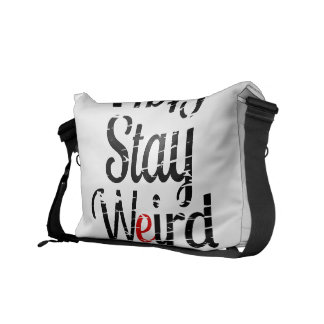 Stay Weird Distressed Text Messenger Bags