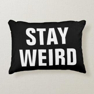 STAY WEIRD fun black white typography throw pillow
