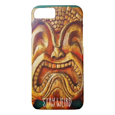 "Hawaiian Themed ""Stay Weird"" Quote, Fun Retro Wood Tiki Face Photo iPhone 8/7 Case"