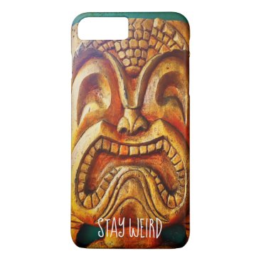 "Hawaiian Themed ""Stay Weird"" Quote, Fun Retro Wood Tiki Face Photo iPhone 8 Plus/7 Plus Case"
