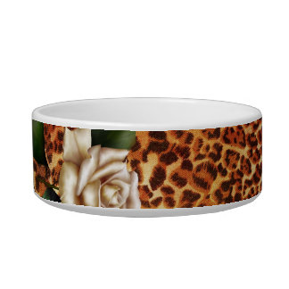 Stay Wild Animal print leopard white rose Bowl