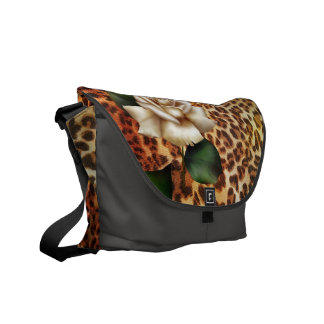 Stay Wild Animal print leopard white rose Courier Bag