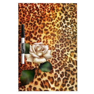 Stay Wild Animal print leopard white rose Dry Erase Board