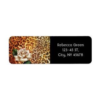Stay Wild Animal print leopard white rose Label