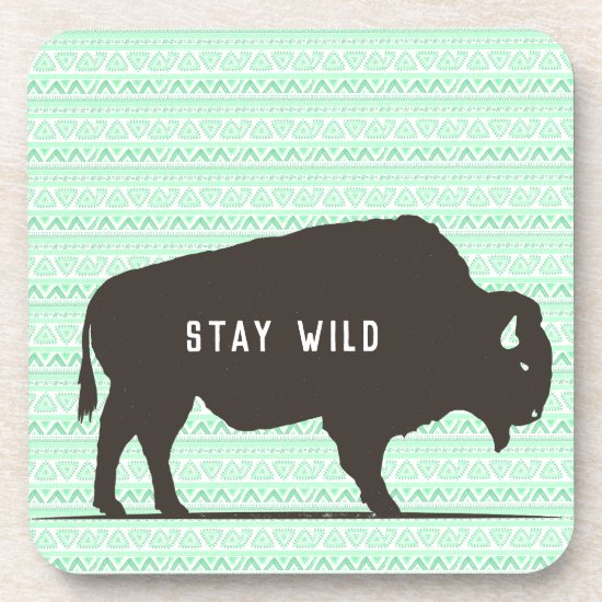 Stay Wild Boho Buffalo Customizable Beverage Coaster
