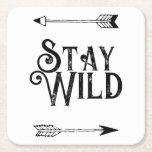 """Stay wild boho paper coaster<br><div class=""""desc"""">Stay wild inspirational quote paper coaster.</div>"""