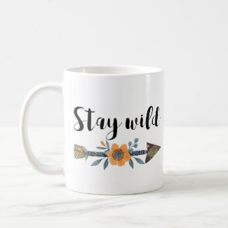 Stay wild boho style watercolor mug
