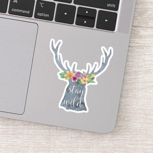 Stay Wild | Cute Deer Antlers Flower Crown Quote Sticker