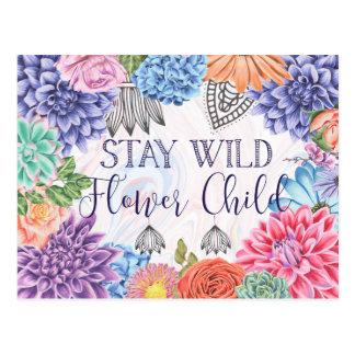 Stay Wild Flower Child - Boho Florals Postcard