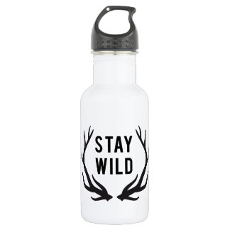 stay wild, text design with deer antlers 18oz water bottle