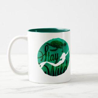 """Stay Wild"" with Mermaid and Sea Turtle Two-Tone Coffee Mug"