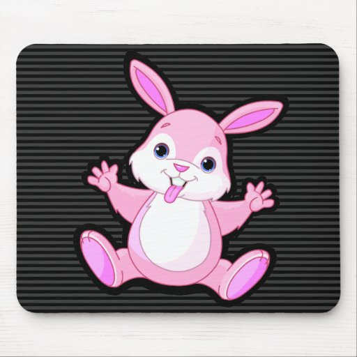 stayhappy cute kawaii pink bunny mouse pad