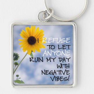 Staying Positive Text With A Sunflower In The Sky Keychain