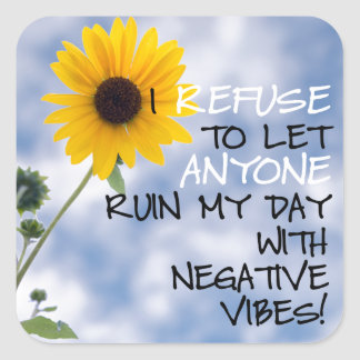 Staying Positive Text With A Sunflower In The Sky Square Sticker