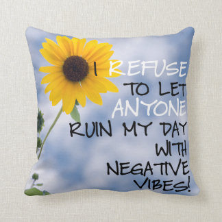 Staying Positive Text With A Sunflower In The Sky Throw Pillow