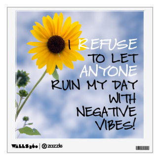 Staying Positive Text With A Sunflower In The Sky Wall Sticker