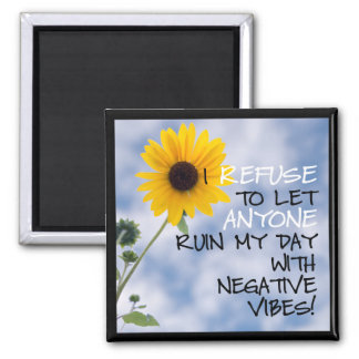 Staying Positive Text With White Daisies 2 Inch Square Magnet