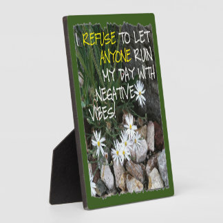 Staying Positive Text With White Daisies Plaque