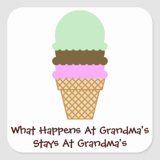 Stays At Grandma's Square Sticker