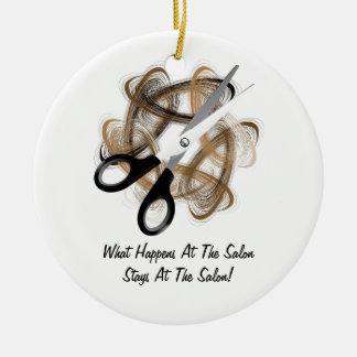 Stays At Salon Ceramic Ornament