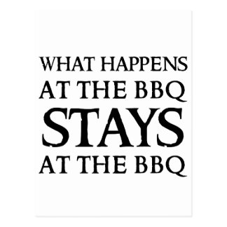 STAYS AT THE BBQ POSTCARD