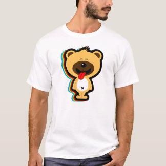 stays happy cute brown teddy bear in white shirt