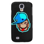 stays Happy cute cool blue cap apes Samsung Galaxy S4 Cover