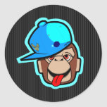 stays Happy cute cool blue cap apes Round Sticker