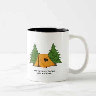 Stays In The Tent (customizable) Two-Tone Coffee Mug
