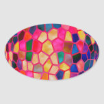 STBX  Light Red Glowing Crystal  Ball Oval Sticker