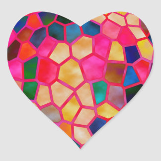 STBX  Light Red Glowing Crystal Heart Sticker